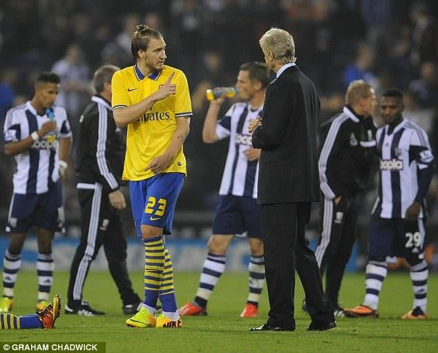 Bendtner Tells Wenger He'll Take the First Penalty vs West Bromwich 2013.
