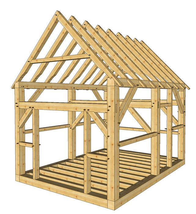 http://timberframehq.com/12x16-timber-frame-shed-plans/12′ x 16′ three bent timber frame shed with two doors and the roof pitch is 12/12