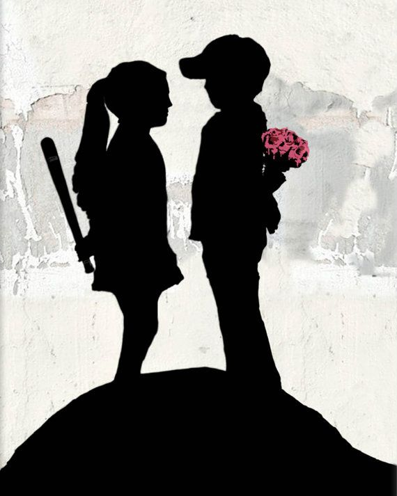 Banksy canvas Boy Meets Girl Street Art Graffiti 24 x 30 inch premium print on Etsy, $34.95