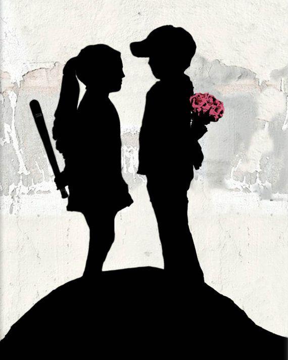 Banksy canvas Boy Meets Girl Street Art Graffiti 24 x 30 inch premium print on Etsy, $34.95