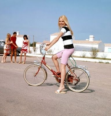 France Gall on a bicycle, 1966.