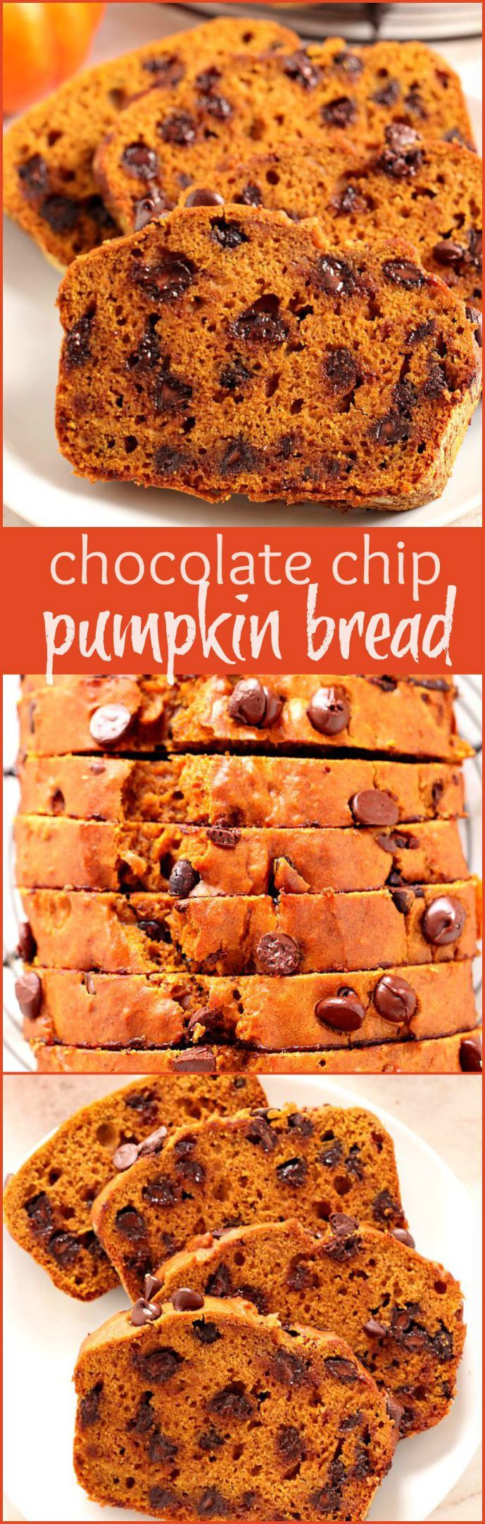 Pumpkin Chocolate Chip Bread - delicious pumpkin bread with a perfect balance of spices and chocolate chips through out. So easy and bakes up perfectly every time!