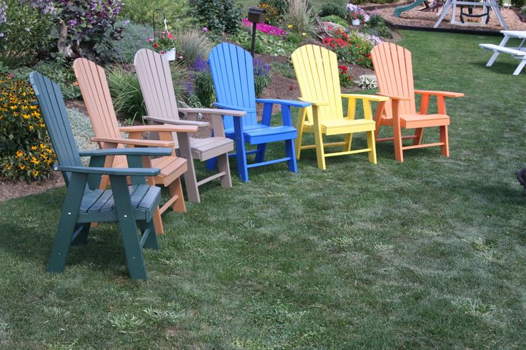 Upright polywood Adirondack chairs - available in 12 different colors!