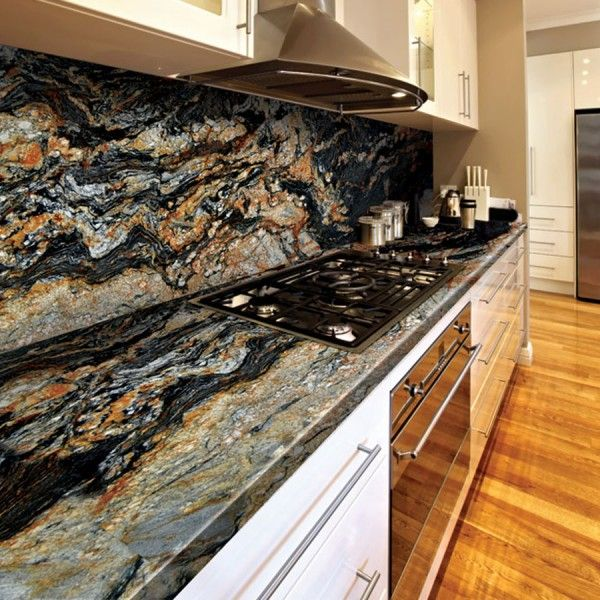 Black Granite Countertops Price : ... Granite countertops and backsplash #MagmaGoldGranite #MOTW #MarbleO