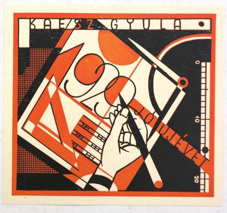 Két, Kaesz Gyula által tervezett újévi üdvözlőlap  1929