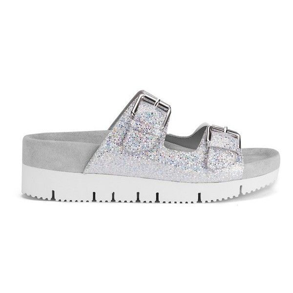 Ash Women's Takoon Double Strap Suede Sandals - Light Silver ($76) ❤ liked on Polyvore featuring shoes, sandals, flats, flat sandals, footwear, silver, silver glitter sandals, strappy sandals, double strap sandals e strap sandals