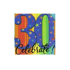 """30"" Ultra Beverage Napkins (A Year to Celebrate) 16/pkg"