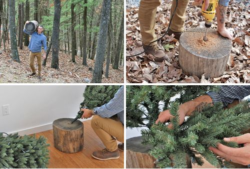 OMG this is BRILLIANT!!! Get a man who likes the forest and owns a drill to make you a cute outdoorsy stand for your artificial Christmas tree!!!
