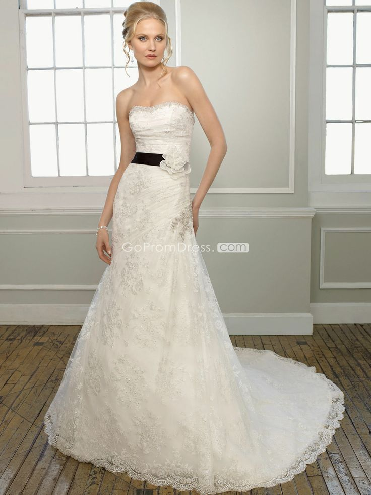 WhiteIvory A line Strapless Sleeveless Satin Lace Embroidery