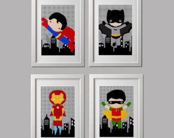 Super hero wall art prints, superhero prints, set of 4, character choice, shipped to your door 8x10 inch each