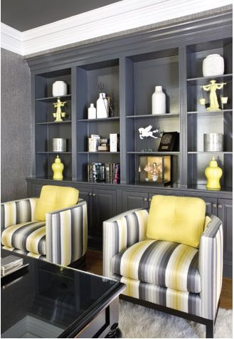 Built-in Bookcase...floor to ceiling.  Nice!  Adapt by adding a large section in the center for a flat screen tv = perfect for the family room.