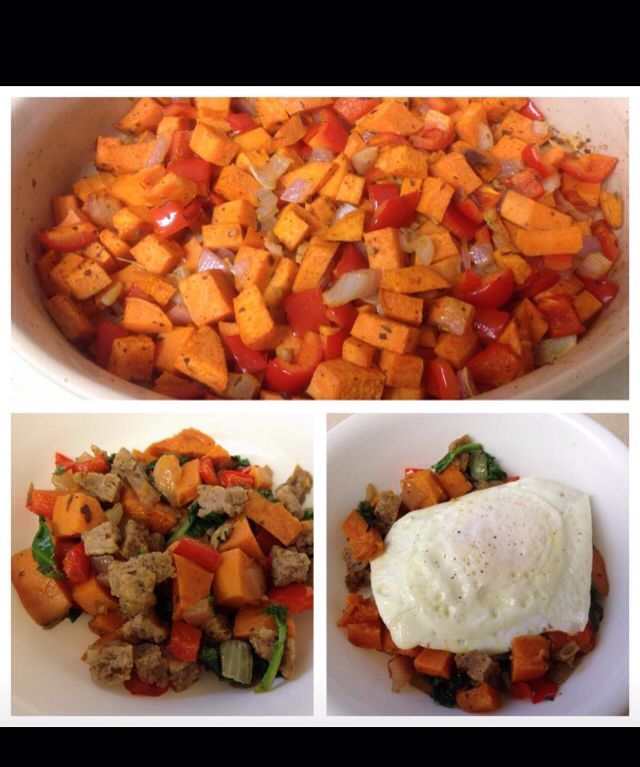 Sweet potato hash. Chopped sweet potatoes, red peppers, onions, cook till potatoes are soft add turkey sausage and an egg on top.