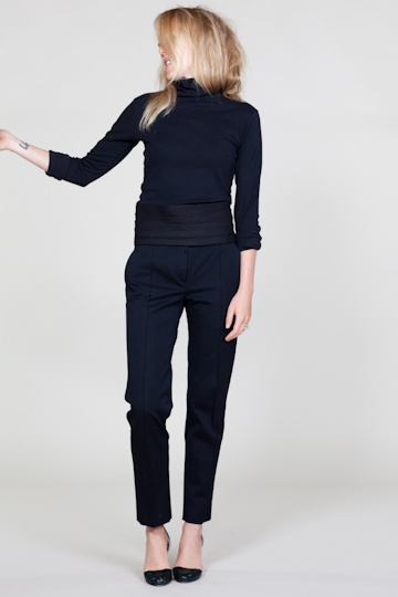 Black formal cigarette pants with poloneck - simple elegant with heels. More