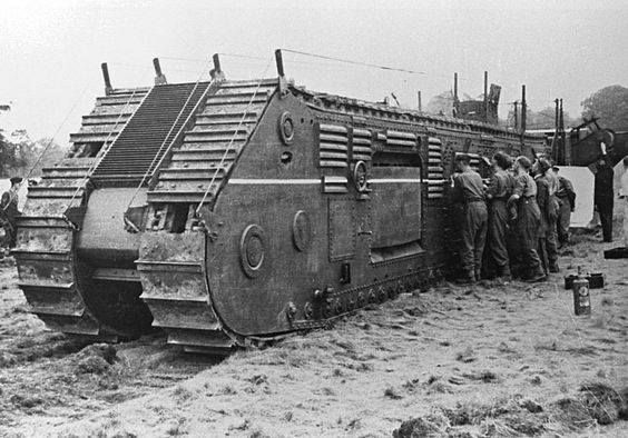 """Churchill's mole or """"Nellie"""" N.L.E. Tractors. Winston Churchill sometimes referred to the machine as his mole and the prototype machine was dubbed Nellie. It was lightly armoured and carried no weapons. It was designed to advance upon an enemy position largely below ground level in a trench that it was itself excavating. On reaching the enemy's front line it would serve as a ramp for the troops and possibly tanks following in its trench"""
