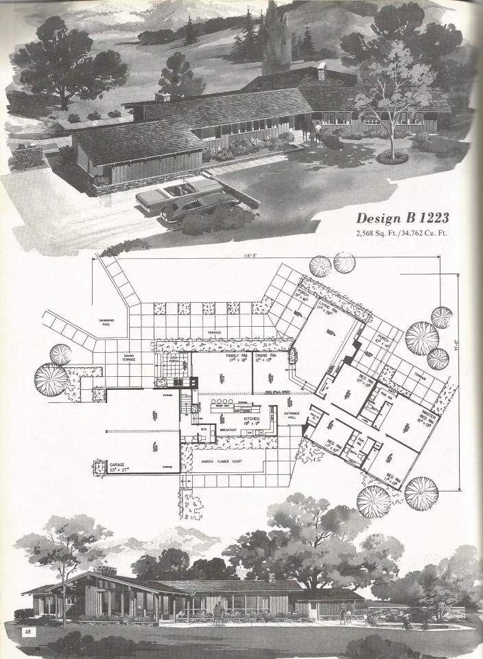 Vintage House Plans Western Ranch Houses Mid Century