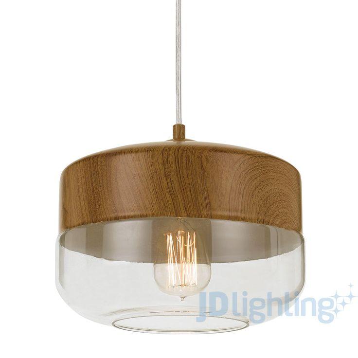 Telbix Bruno Clear Glass & Oak Style Pendant Light