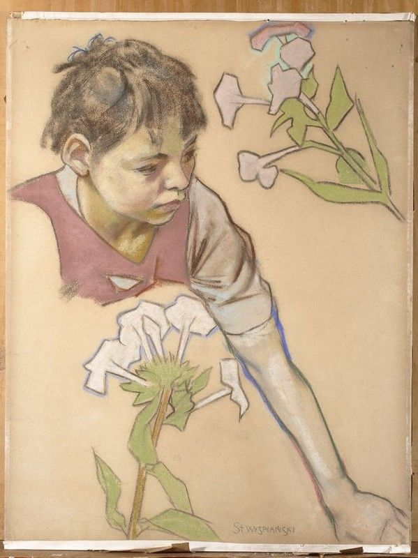 Głowa chłopca i kwiaty, Stanisław Wyspiański