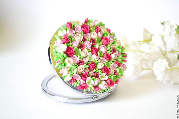 """Купить Зеркало """"Цветы"""" - розовый, на любой случай, на 8 марта подарок, компактное зеркало"""