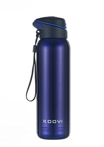 Kooyi Isotherme Sport bouteille d'eau avec de la paille 500 ml, tasse de voyage en acier inoxydable – Sans BPA: ✔ double paroi bouteille…