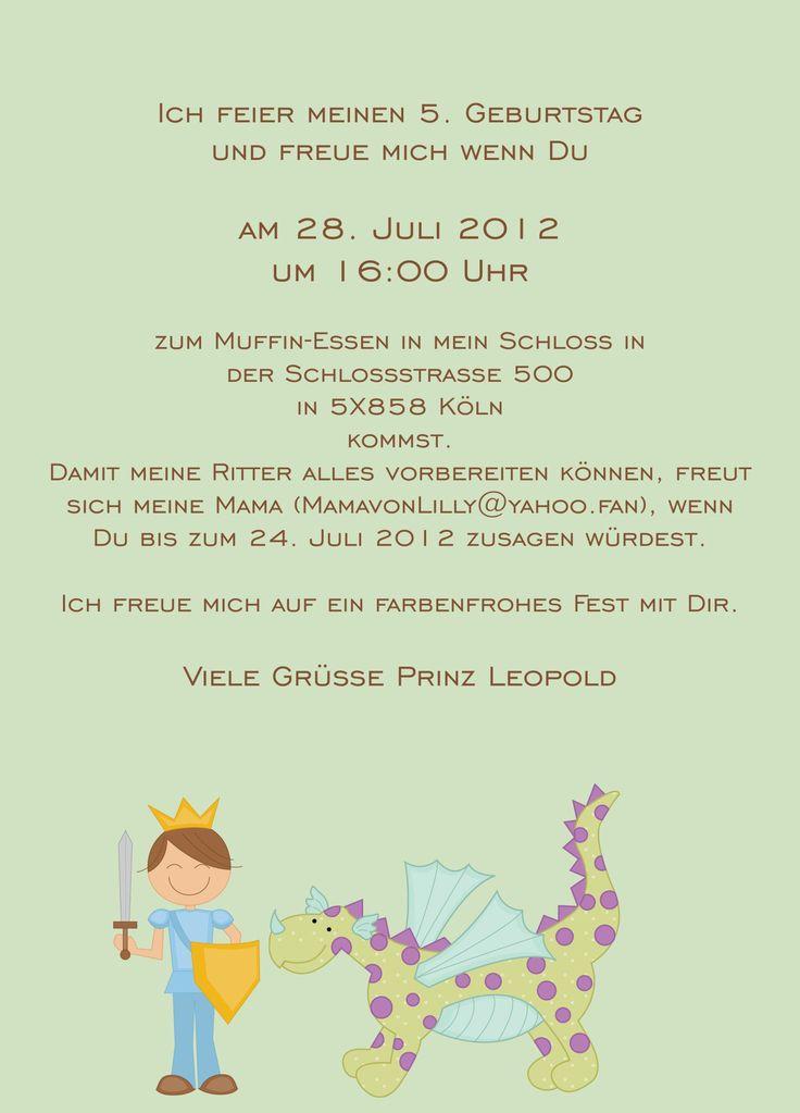 25+ best ideas about einladung kindergeburtstag text on pinterest, Einladung