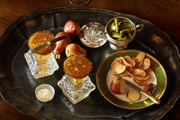 This very special gourmet duck liver pate is perfect served with small toasts. Edible gold leaf adds an additional element of prestige to the dish.