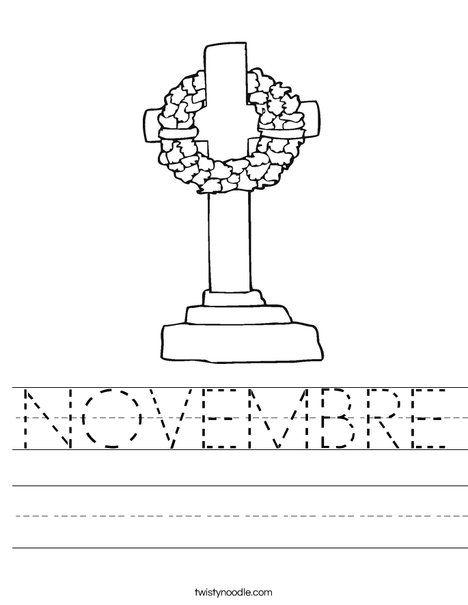 NOVEMBRE Worksheet - Twisty Noodle | Remembrance day ...