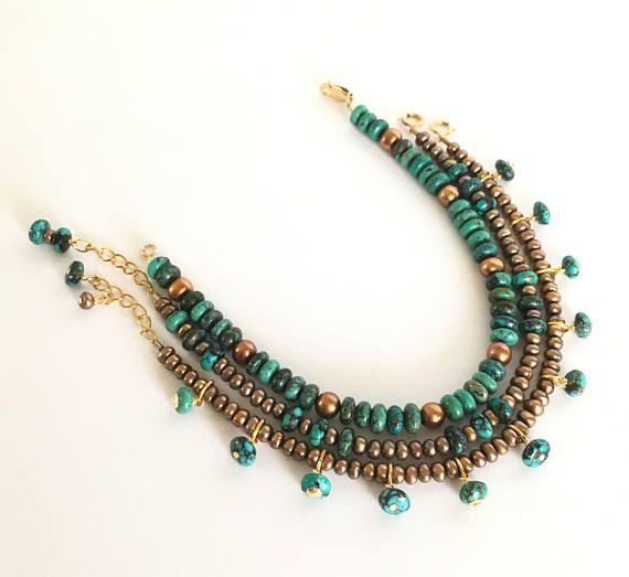 Genuine Turquoise & Freshwater Pearl 14K Gold Filled Bracelet