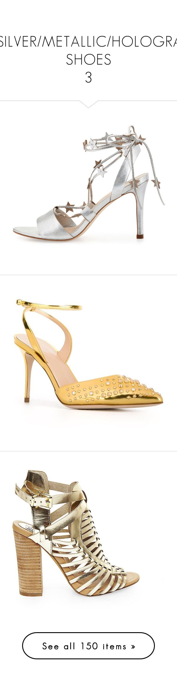 """GOLD/SILVER/METALLIC/HOLOGRAPHIC SHOES 3"" by kazza-smith ❤ liked on Polyvore featuring shoes, sandals, silver shoes, silver strappy shoes, silver strappy sandals, loeffler randall shoes, silver strap sandals, pumps, studded shoes and ankle strap pumps"