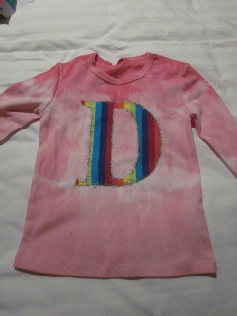Tie dyed rainbow D t shirt for my little niece by Yarn Wrap