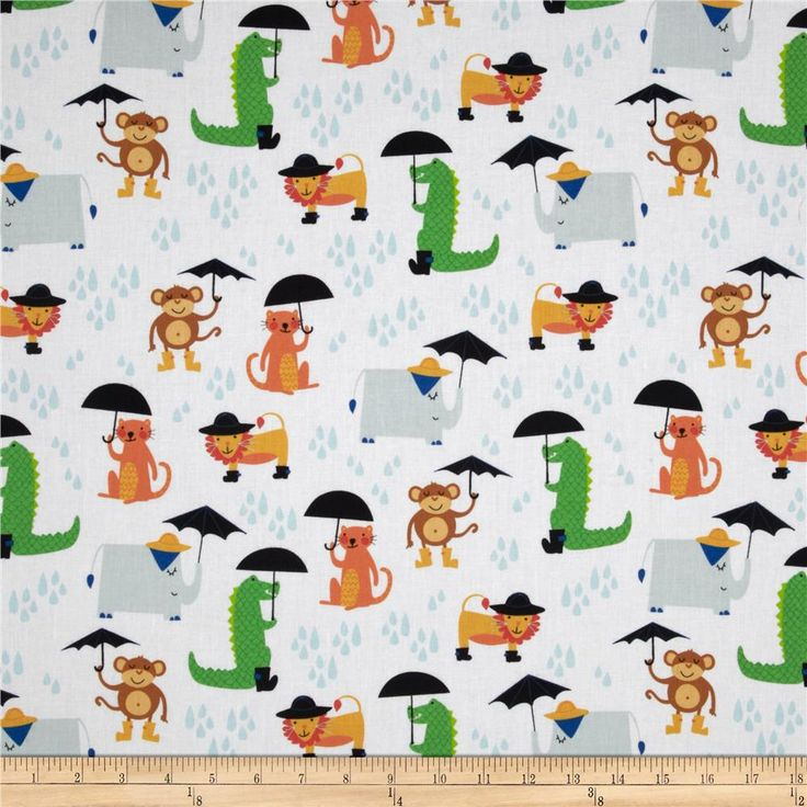 Rainforest Fun Animals & Umbrellas White from @fabricdotcom  Designed by Arrolynn Weiderhold and licensed to Wilmington Prints, this cotton print is perfect for quilting, apparel and home decor accents.  Colors include white, black, grey, tan, brown, shades of orange, shades of green and shades of blue.
