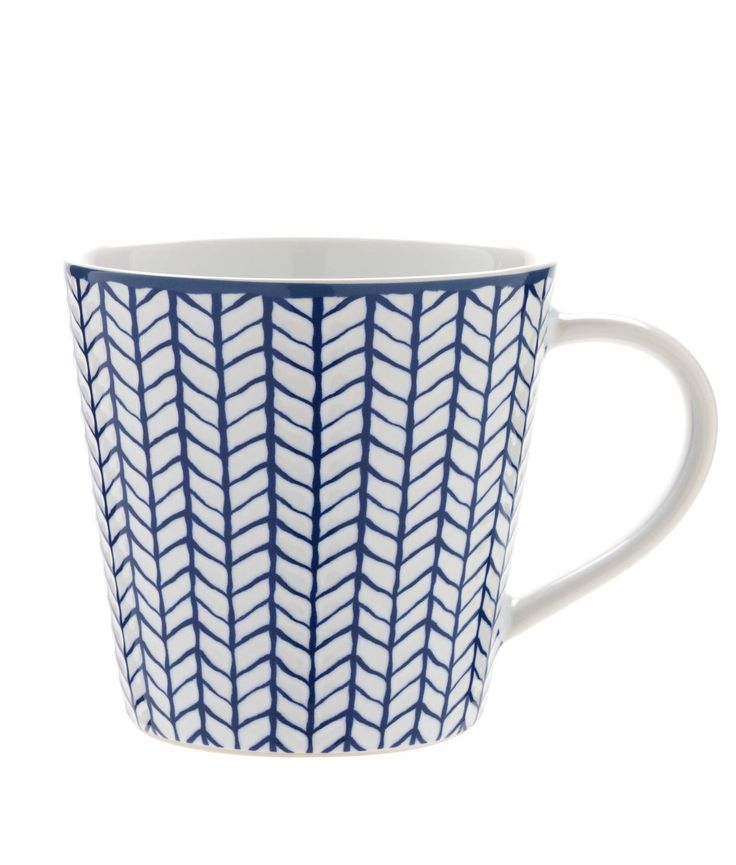 We love how blue and white contrast in the herringbone pattern on this mug.  Priced at £4.