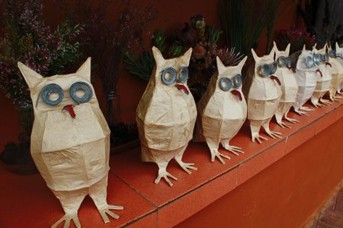 Tutorial: Owl Lanterns. (these make me laugh...check the link to see them placed around differently...so funny!)