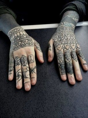 Blackwork Tattoos on Forearms and Fingers