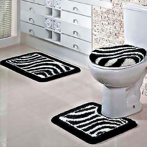 Jogo de Banheiro Jolitex Fina Arte 3 Peças Zebra