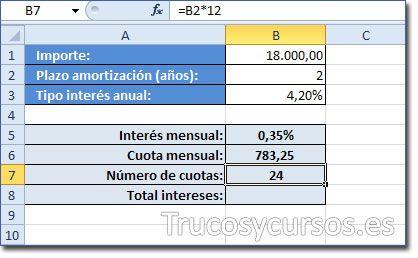 Calcular un préstamo en Excel