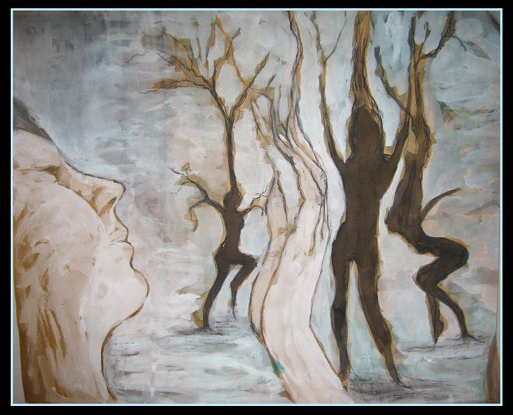 """Transformation"" by Cholena Drew Hughes Medium - gouche, ink, charcoal on card"