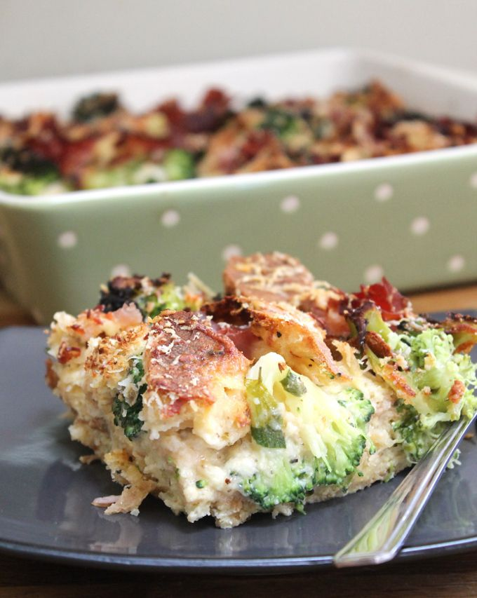 Parmesan Bread Pudding with Broccoli & Ham. A savory bread pudding with parmesan, broccoli and ham. Perfect for using up leftovers!