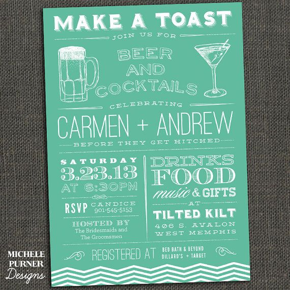 COUPLES SHOWER INVITATION - Make a Toast - Beer Cocktails - Birthday - any event - Printable or Printed for you