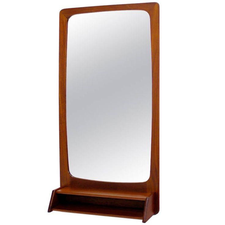 Danish Modern Teak Wall Mounted Mirror | 1stdibs.com