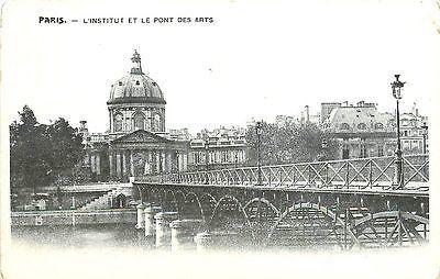 Paris France 1904 Institute of France Bridge of Arts Antique Vintage Postcard
