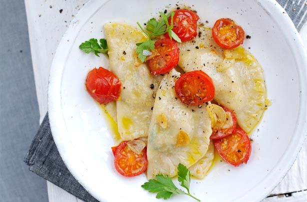 This delicious and easy to make crab ravioli is the perfect pasta recipe for a dinner party. This recipe makes the pasta from scratch and has been triple tested in the Woman's Weekly kitchen. It takes 1hr to prepare including resting time for the dough. This pasta recipe will serve between 2-3 people and works out at 471 calories per portion. A light buttery sauce and a meaty crab filling make this dish even tastier. Serve as a filling lunch or light dinner.
