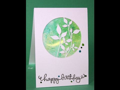 Ink smooshed circle of leaves and faux shaker card