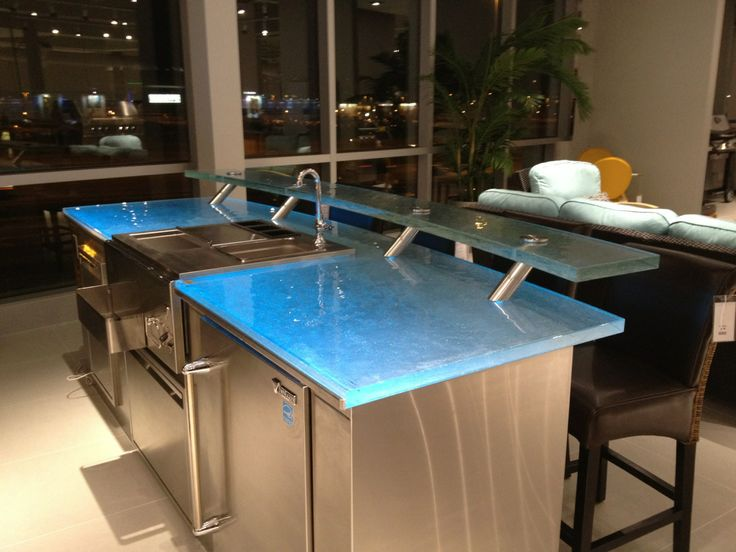 Glass Countertop And BBQ With A Serving Raised Bar! Glass Is Perfect For  The Outdoor
