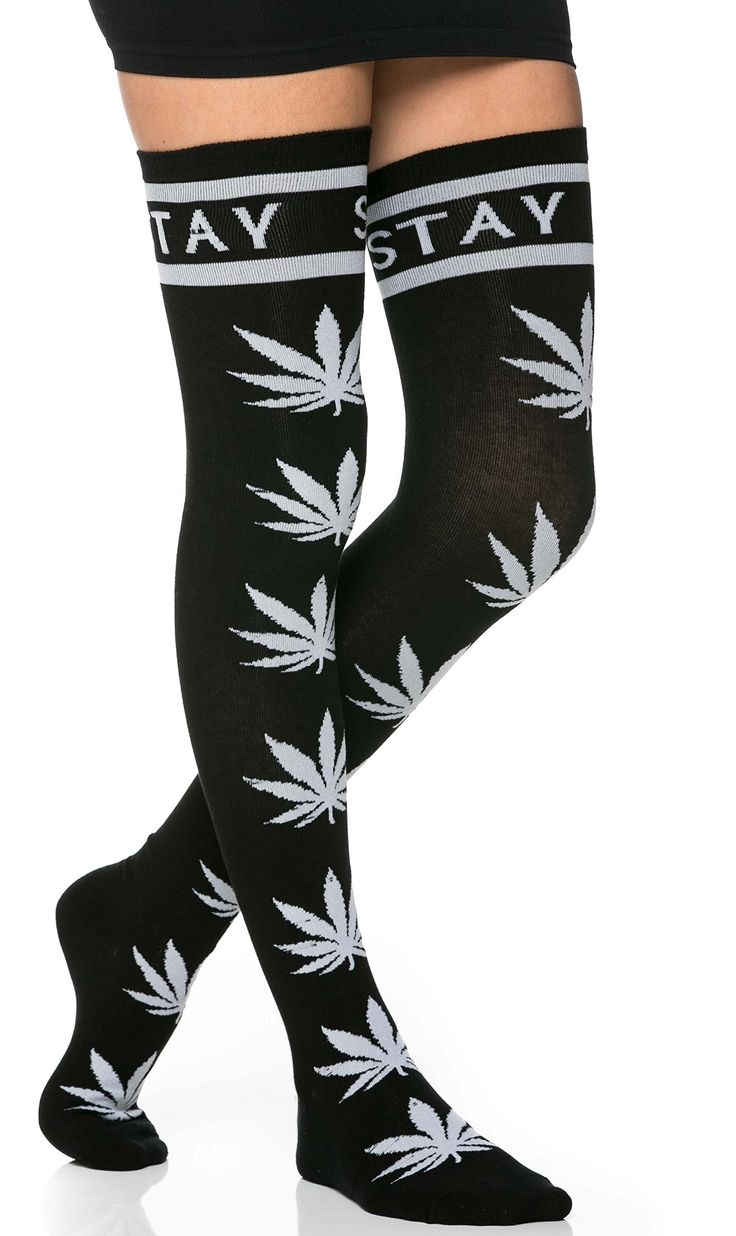 Stay High, Weed Print Thigh High Socks