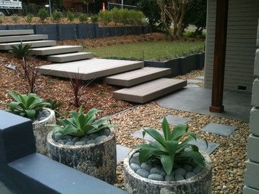 hillside stairs   Modern Exterior stairs Design Ideas, Pictures, Remodel and Decor