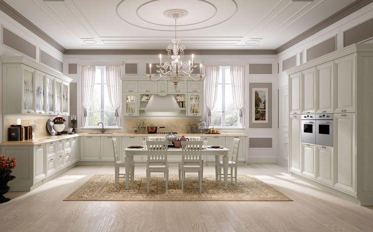 cucina arredamento con un design classico include un tende bianche, sedie e tavoli e tappeti il colore del cioccolato e pavimenti di legno | Arredamento e Decorazioni Per La Casa