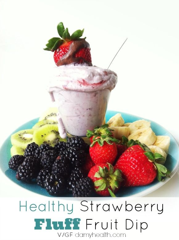 Healthy Strawberry Fluff Fruit Dip This recipe is vegan, gluten free, only 4 ingredients, simple, quick, made with all natural ingredients and a wonderful clean treat.