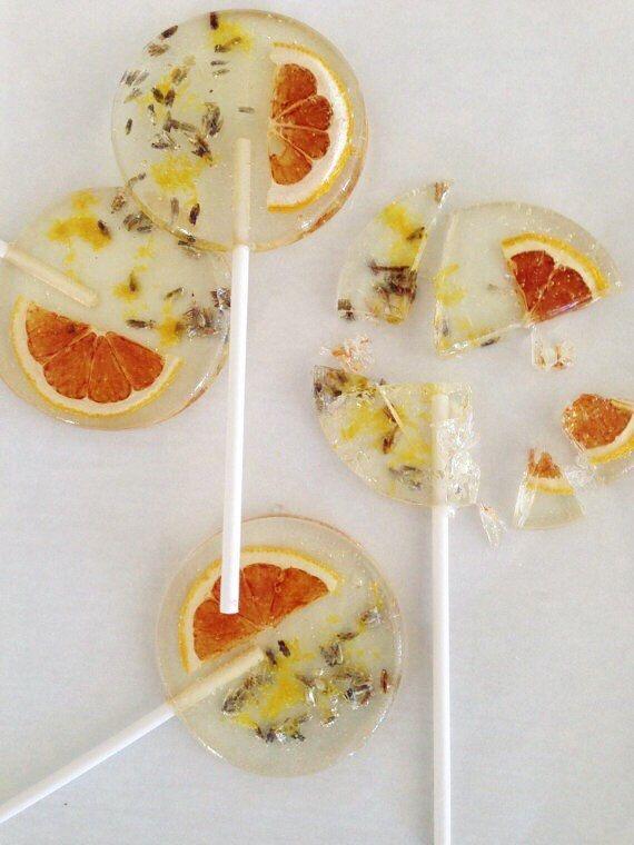 3 Natural Lemon And Lavender Lollipops