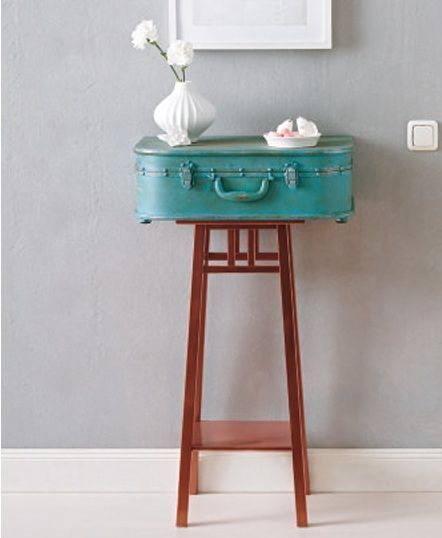 Pin by diy reused recycled repurposed rethinked reclaimed for Diy suitcase table