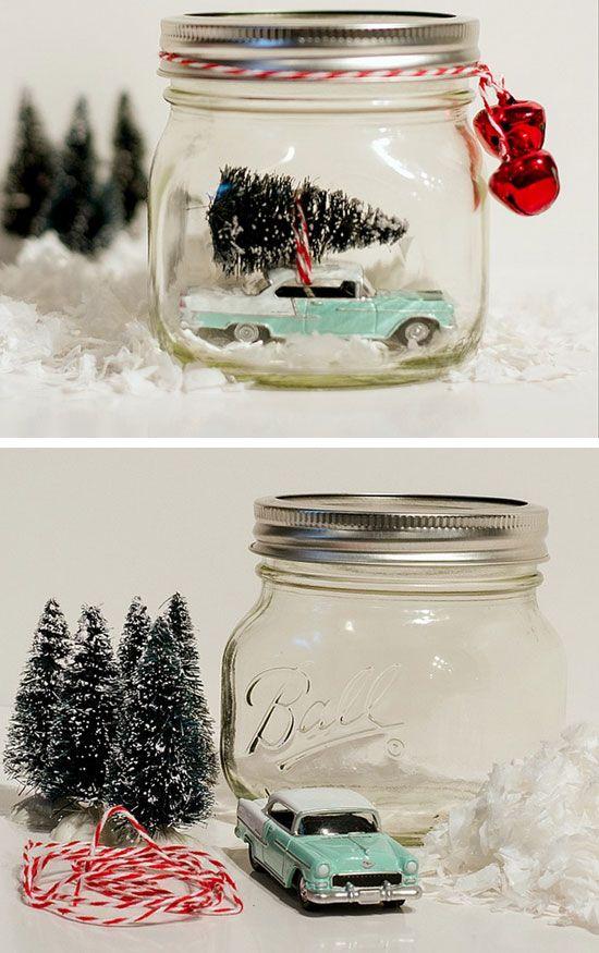 Car in Jar Snow Globe | 30 DIY Christmas Gifts in a Jar Ideas | DIY Mason Jar Christmas Gifts